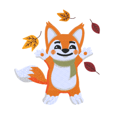 Playfull fox with leaf EP_01